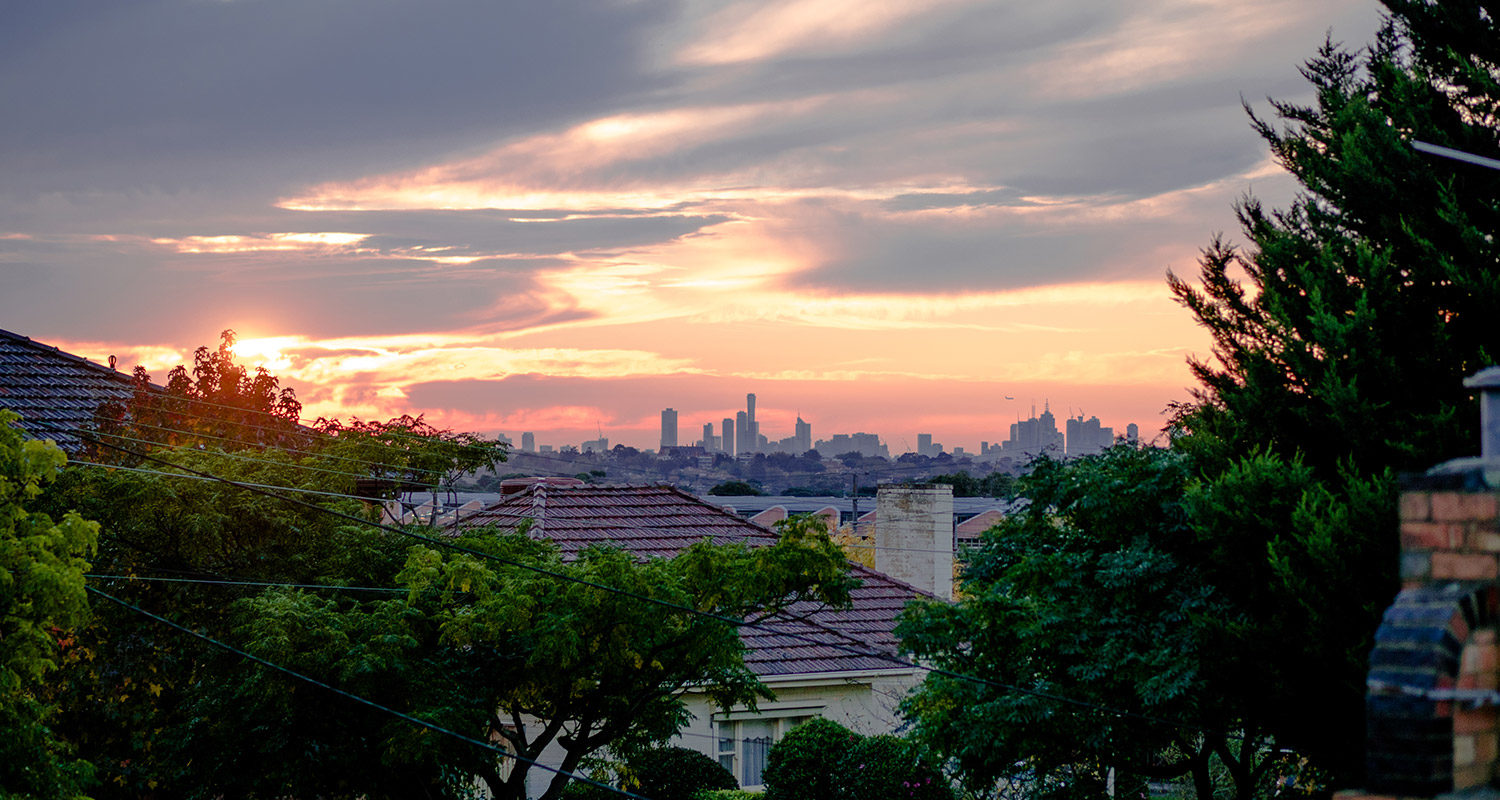 The view of Melbourne from the suburbs
