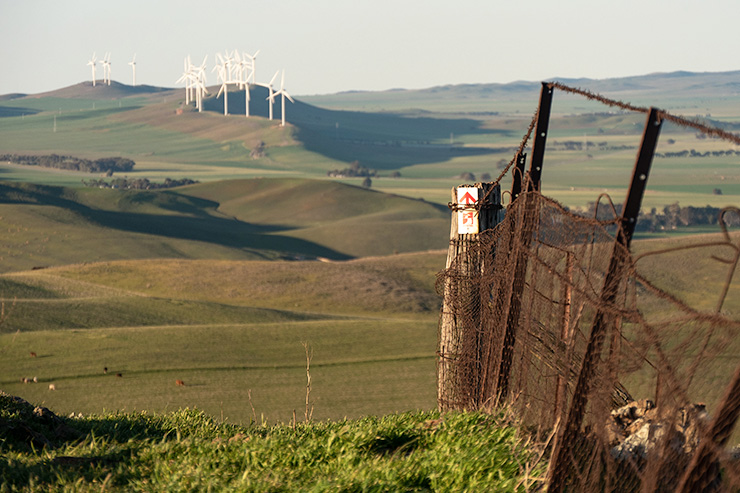 Heysen Trail Marker in Hallett with Wind Turbines in the background